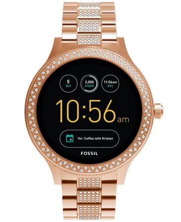 Q Venture觸控式螢幕智慧型腕錶 玫瑰金密鑲水晶錶帶 NT11,300(FTW6008)