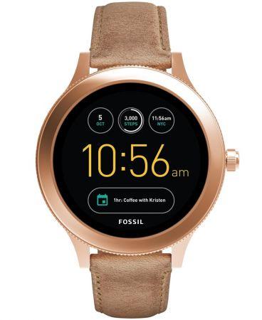 Q Venture觸控式螢幕智慧型腕錶 淺咖啡色皮革錶帶 NT10,500(FTW6005)