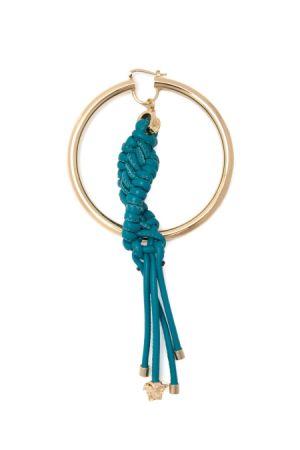 皮革編織圓圈金屬耳環,Versace。