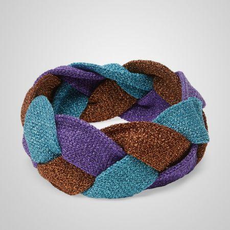 亮蔥拼色編織頭帶,Gucci。