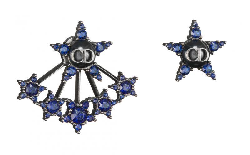靛藍星星不對稱耳環,Christian Dior。
