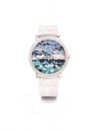 Altiplano Bubble Dots 腕錶,羽毛鑲嵌工藝錶盤,Piaget。