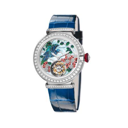 Lucea 系列腕錶,微繪與珠寶工藝面盤,Bulgari。