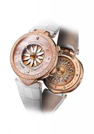Christophe Claret Margot花瓣占卜玫瑰金鑲鑽女性腕錶,建議售價NT7,380,000。
