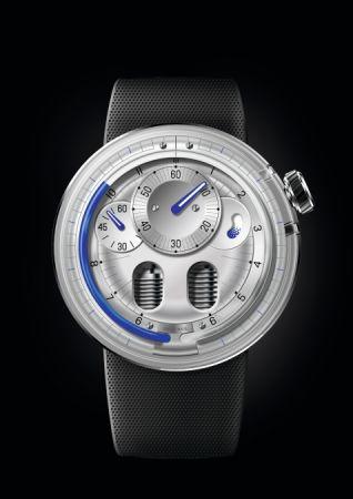HYT H0 Silver液壓顯示腕錶 ,建議售價NT1,380,000。