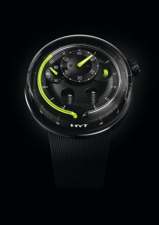 HYT H0 Black液壓顯示腕錶,建議售價NT1,380,000。