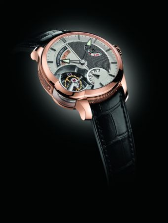 Greubel Forsey Tourbillon 24 Seconds Edition Historique 24秒陀飛輪復刻紀念版系列5N紅金腕錶,建議售價NT12,500,000。