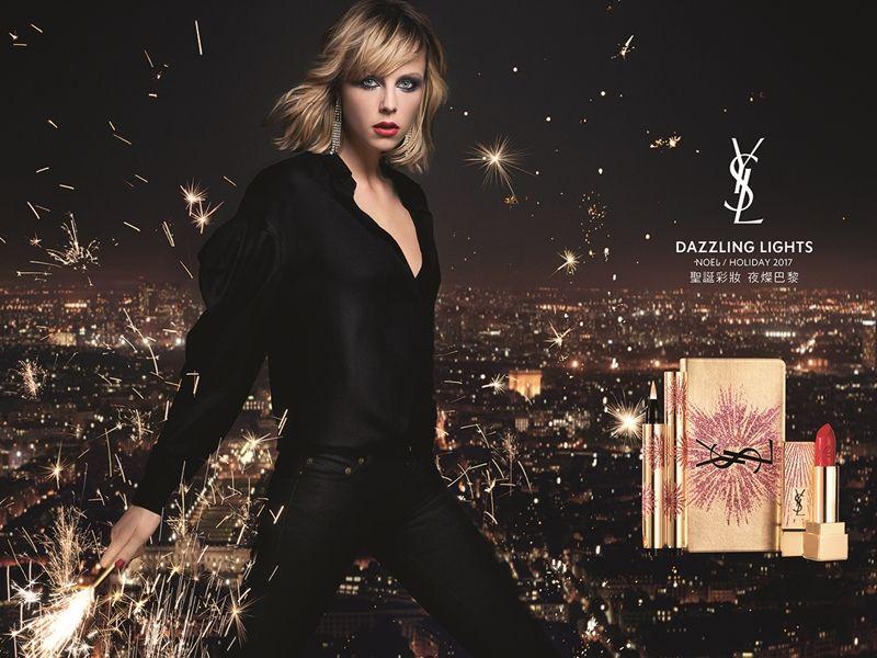 YSL2017夜燦巴黎聖誕彩妝主視覺。