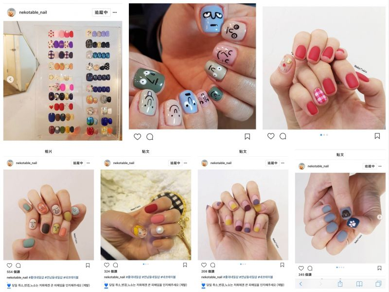nekotable 的作品都是短指甲居多,風格也是屬于比較簡單,用色也是不那麼鮮豔,帶點小俏皮可愛是時下流行的小清新風格。