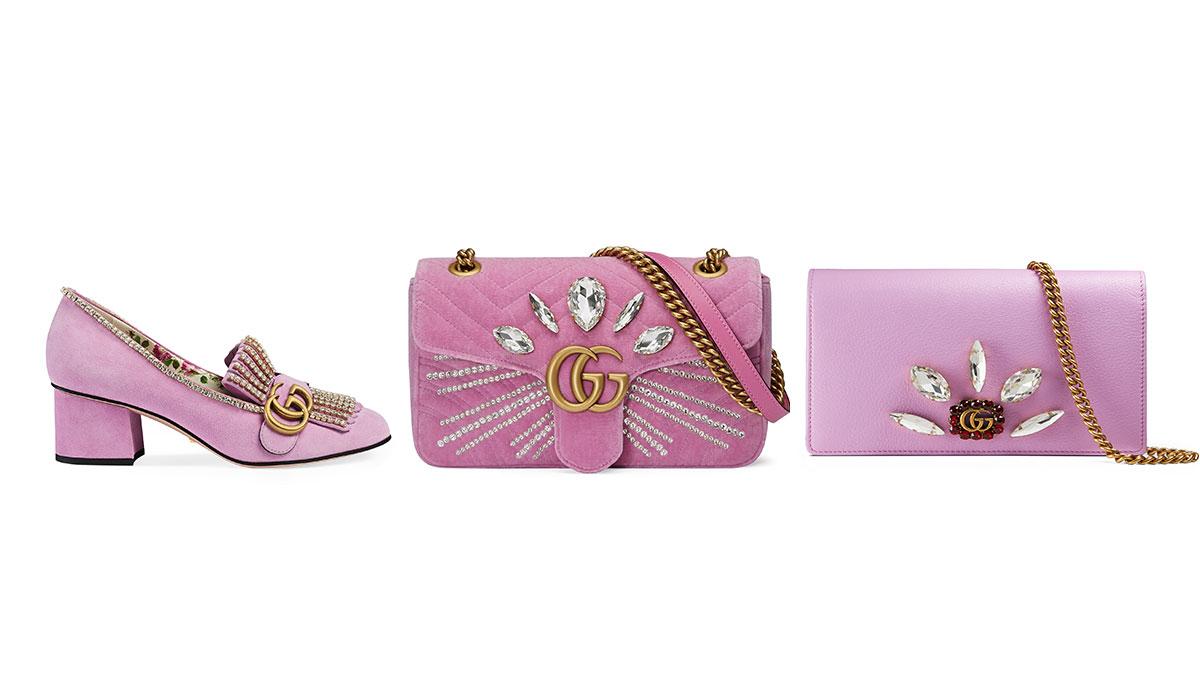粉紅控又要失心瘋!迎接聖誕的Gucci禮物系列就鎖定這3個亮晶晶粉紅單品