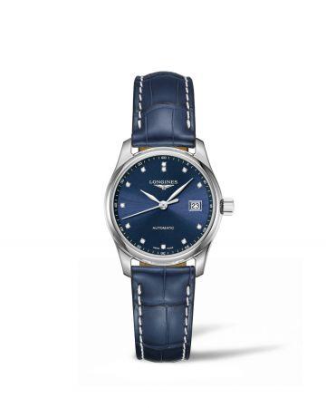 29毫米鱷魚皮錶帶點鑽時標午夜藍女錶