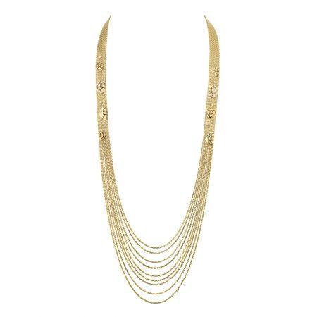 Impression Camélia項鍊18K黃金鑲嵌54顆鑽石。建議售價NTD1,002,000元