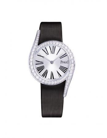 Limelight Gala 鑲鑽腕錶26mm,18K白金錶殼鑲嵌60顆圓形美鑽(約0.92克拉)錶釦鑲嵌單顆圓形美鑽(約0.01克拉)搭載伯爵製59P石英機芯絹質錶帶,針扣式錶釦G0A42150台幣參考價格700,000元