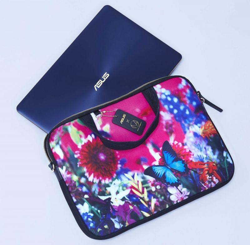 「就算是保護殼和筆電包,也可以成為大家時尚配搭的一部分。」(ASUS ZenBook 3 Deluxe 與蜷川實花聯名筆電包)