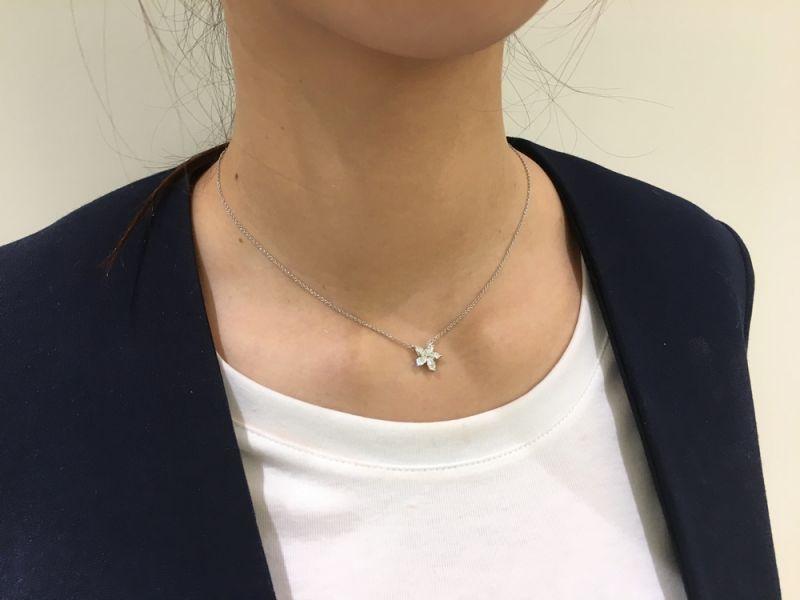 Tiffany Victoria系列項鍊問世自1998年的Tiffany Victoria系列以馬眼形鑽石勾勒出鮮明花形,新款加入圓形與梨形鑽石,顏色與淨度勻相稱的鑽石,除了最受歡迎的鍊墜,同系列的手鐲與耳環也相當值得收藏。