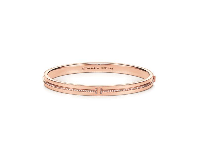 Tiffany T Two 18K玫瑰金鑲鑽手鐲 NT$272,000
