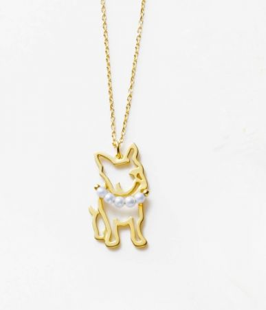 TASAKI pretty in pearls 珍珠黃金項鍊 (Lucky法國鬥牛犬),NT27,600。
