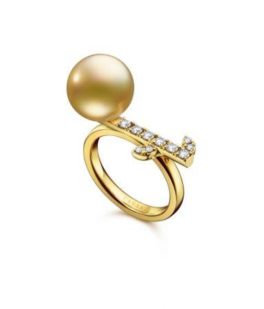 TASAKI kugel 南洋珍珠鑽石黃金戒指,NT168,000。