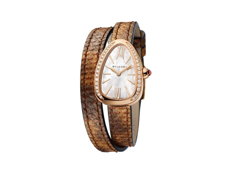BVLGARI NEW SERPENTI 系列栗棕色水蛇皮玫瑰金腕錶,參考售價約NT$325,700