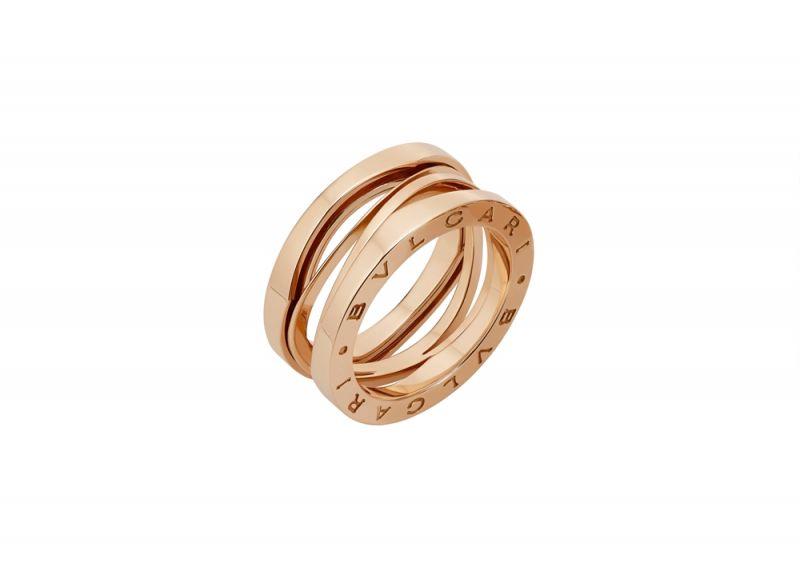 BVLGARI B.zero1 Design Legend 設計傳奇系列玫瑰金三環戒指 參考售價約NT$64,700