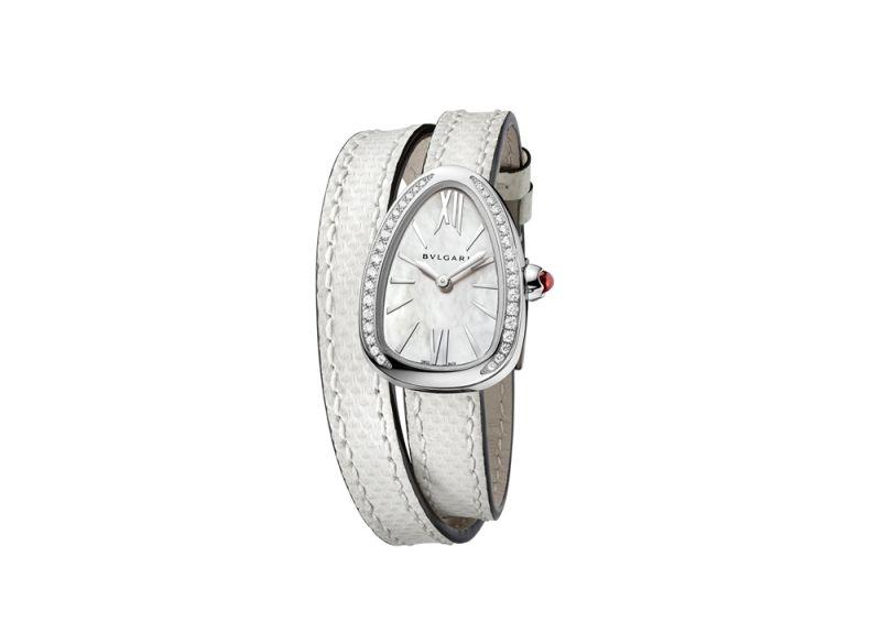 BVLGARI NEW SERPENTI 系列白色水蛇皮白金腕錶,參考售價約NT$209,500