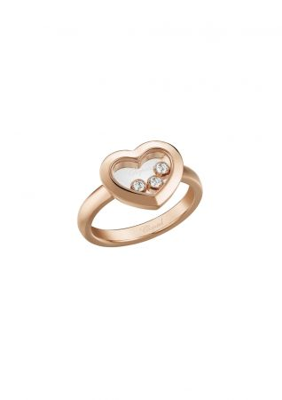 CHOPARDHappy Diamonds系列戒指玫瑰金與3顆滑動鑽石售價NT92,000