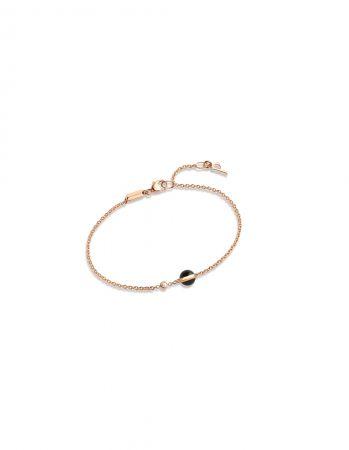 Possession 系列旋轉手鍊18K玫瑰金鑲嵌單顆圓形美鑽(約0.05克拉)及單顆縞瑪瑙G36PB518台幣參考價格 37,500元