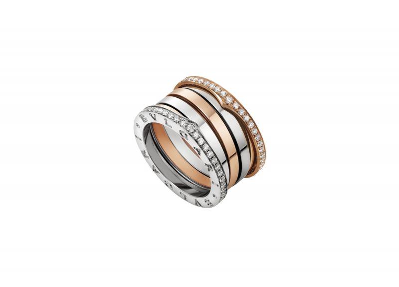BVLGARIB.zero1 Labyrinth迷宮系列白K金和玫瑰金四環戒指(鑲鑽款)參考售價NT$218,100