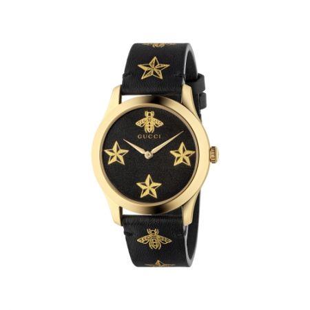 2018 G-Timeless 腕錶_新款 中碼38mm,金色蜜蜂和星星,金色PVD錶殼,黑色皮革錶帶,NT35,000。