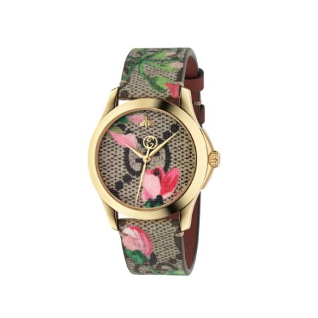 2018 G-Timeless 腕錶 中碼38mm,金色PVD錶殼,GG花卉面板與錶帶,NT31,000。