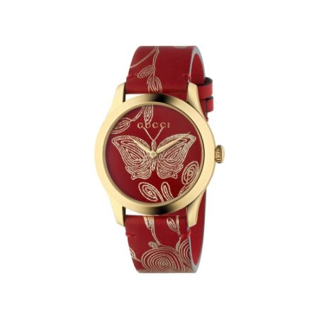 2018 G-Timeless 腕錶_新款 中碼38mm,金色蝴蝶及木槿花,金色PVD錶殼,後底蓋鐫刻貓咪圖案,紅色皮革錶帶,NT35,000。
