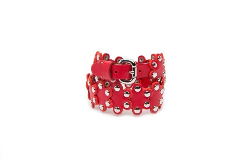 金屬釘花朵頸圈,RED(V),NT5,800。