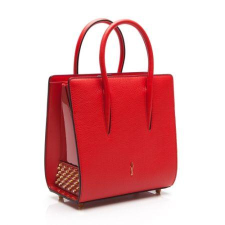 鉚釘漆皮拼接手提包,Christian Louboutin。