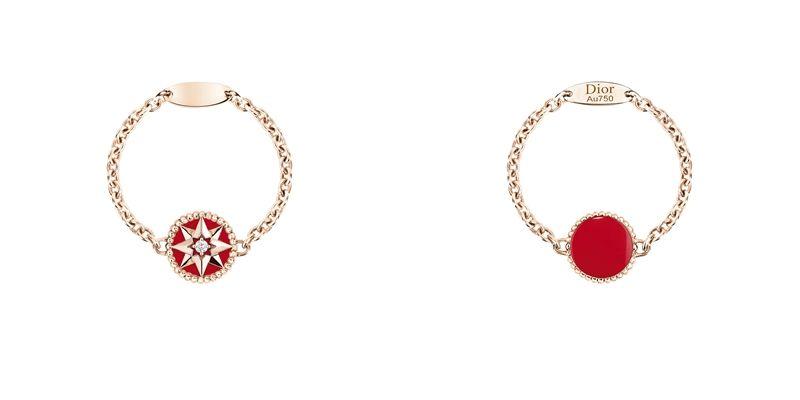 ROSE DES VENTS 羅盤玫瑰紅色真漆玫瑰金鍊戒JRDV95089750/1000 pink gold, diamond and red ceramic lacquerNTD 43,090