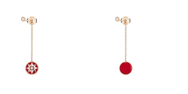 ROSE DES VENTS 羅盤玫瑰紅色真漆玫瑰金耳墜(單只)JRDV95097750/1000 pink gold, diamonds and red ceramic lacquerNTD 61,430
