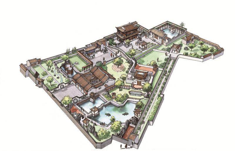 板橋林家花園(黃崑謀繪,遠流出版提供)