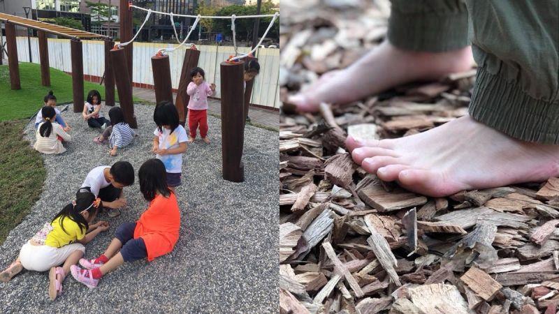 拿掉塑膠地墊吧!木屑、沙坑、小石礫既天然安全,也是可以讓孩子們玩得流連忘返的鬆散素材。