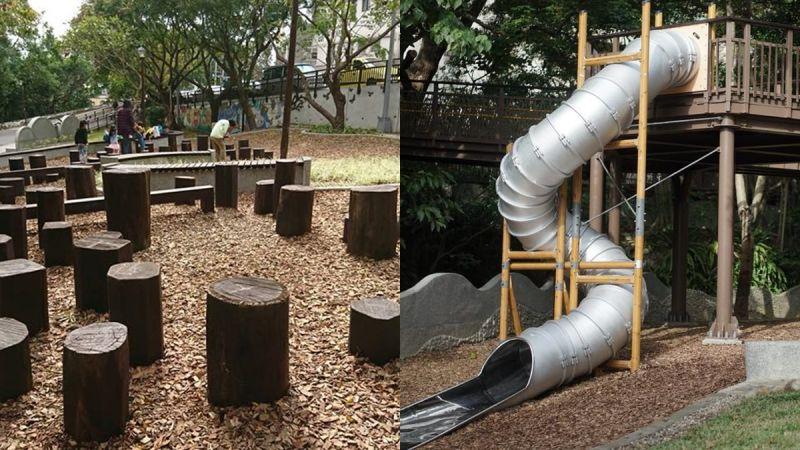 改建後的天母東和公園,擁有高低起伏的跳樁和高大的筒狀溜滑梯,不怕不好玩,就等爸媽帶孩子來挑戰
