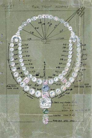 卡地亞為Maharaja Nawanagar所設計的項鍊原始水彩圖