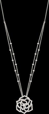 2018年新款Piaget Rose項鍊18K白金鑲嵌159顆圓形美鑽 (約1.7克拉)G33U0980台幣參考價格 466000