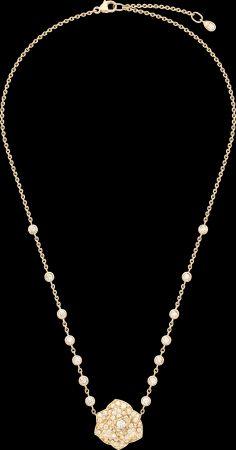 2018年新款Piaget Rose項鍊18K玫瑰金鑲嵌102顆圓形美鑽 (約2.38克拉)G37UA500台幣參考價格400000