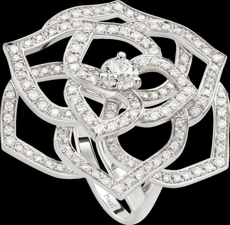 2018年新款Piaget Rose戒指18K白金鑲嵌143顆圓形美鑽 (約1.2克拉)G34UV754台幣參考價格400,000