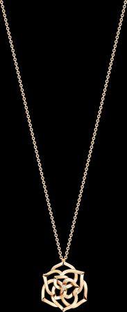 2018年新款Piaget Rose項鍊18K玫瑰金鑲嵌單顆圓形美鑽 (約0.13克拉)G33U0970台幣參考價格153000
