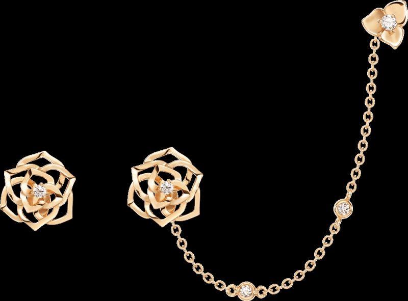 2018年新款Piaget Rose耳環18K玫瑰金鑲嵌2顆圓形美鑽 (約0.06克拉)G38U0077台幣參考價格 120,000