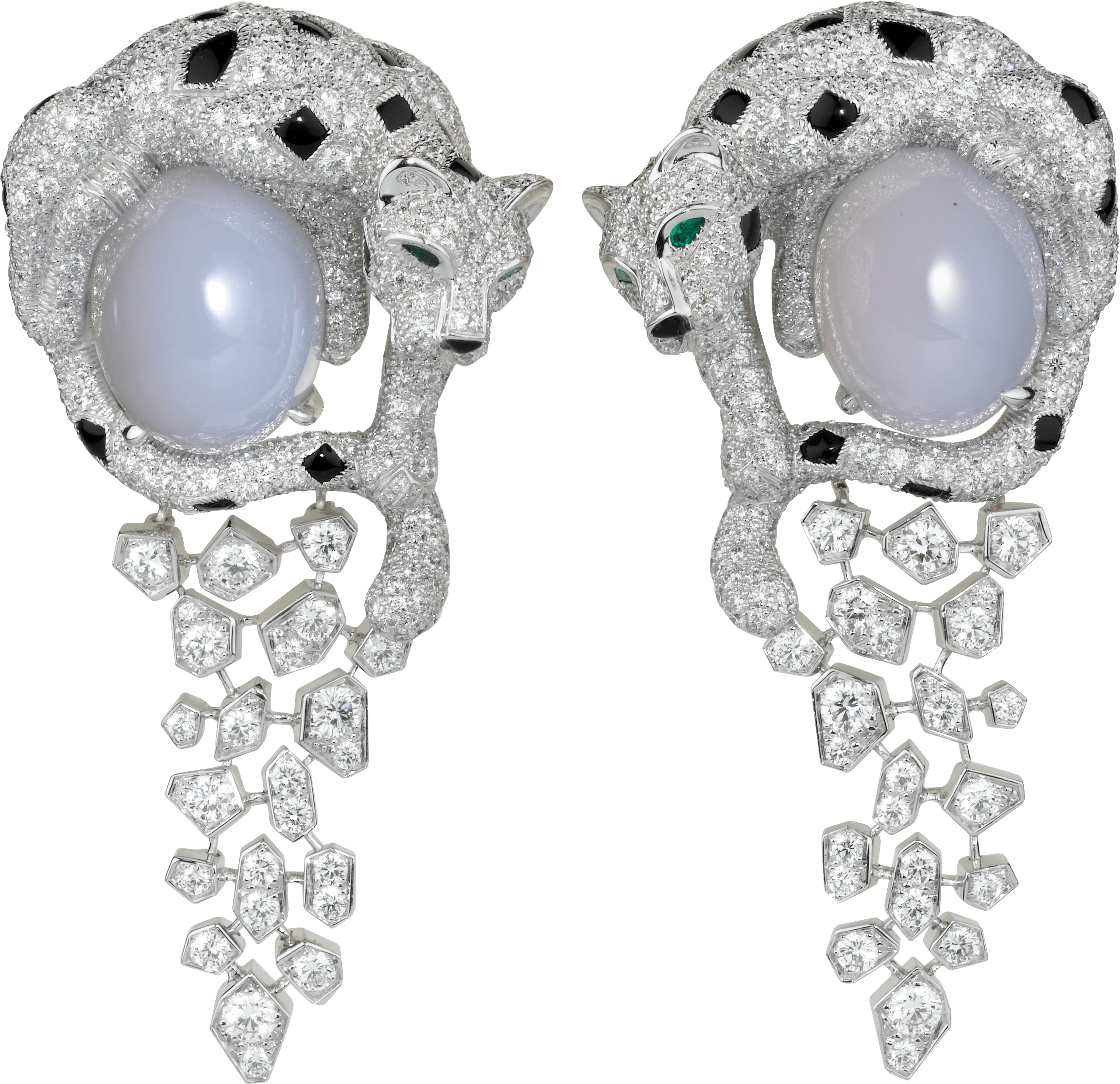 Cartier Royal美洲豹頂級珠寶系列藍玉髓耳環白K金,祖母綠,2顆玉髓,圓形明亮式切割鑽石,縞瑪瑙。參考價格約NT$ 9,250,000