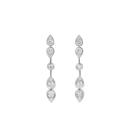 卡地亞高級珠寶系列鑽石耳環 鉑金,鑲嵌9顆圓形明亮式切割鑽石。參考價格約NT$ 2,070,000