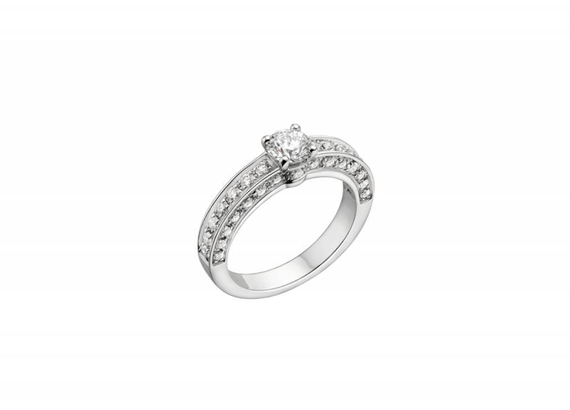 BVLGARI Bridal - 1503 系列婚戒主鑽約0.30克拉起側邊密鑲鑽石