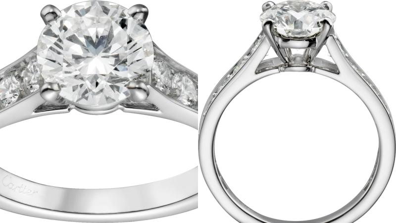 CARTIER Solitaire 1895單鑽戒指 鉑金,鑲嵌一顆圓形明亮式切割鑽石,主石備有0.30至4.99克拉鑽石,鋪鑲圓形明亮式切割鑽石。參考價格約134,000起