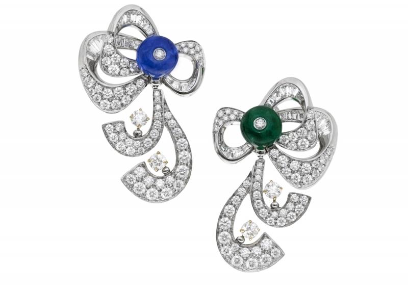 BVLGARI FESTA公主慶典系列 頂級藍寶石與祖母綠鉑金鑽石耳環(262919)