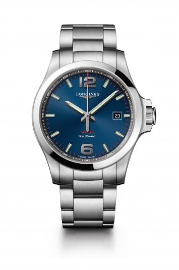 Longines 浪琴表征服者系列 V.H.P.大三針腕錶- 藍面 (L3.726.4.96.6),建議售價 NT34,200